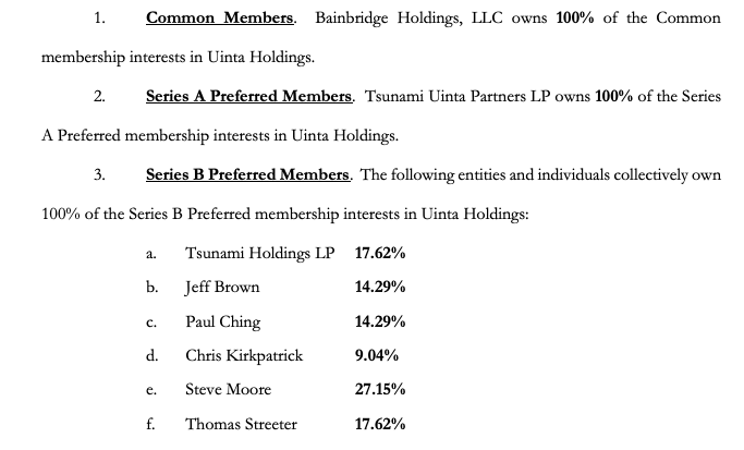 Bainbridge Uinta chapter 11 bankruptcy filing holdings from First Day by Reorg