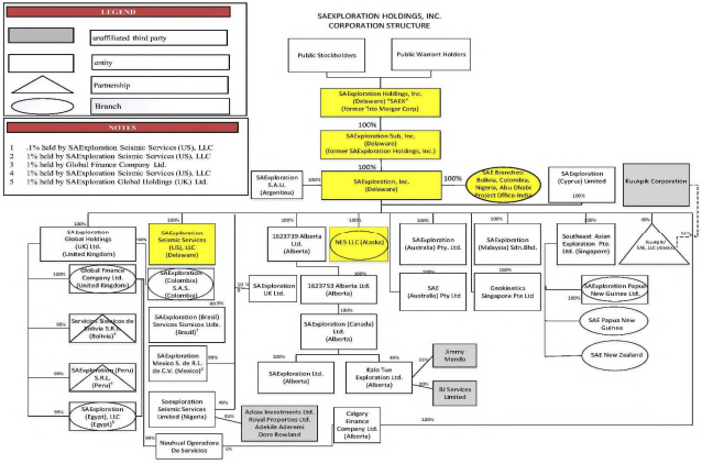 SAExploration bankruptcy filing organizational structure from First Day by Reorg