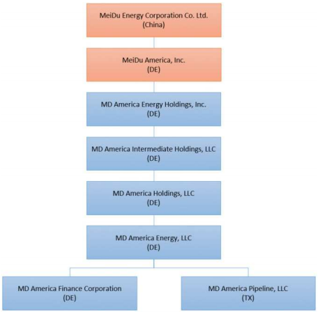 MD America Energy chapter 11 filing organization structure from First Day by Reorg